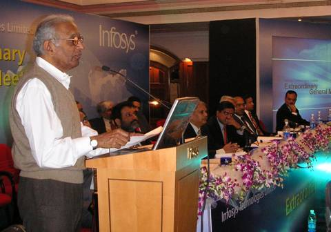 A shareholder describes Infosys' achievements at a Shareholders' Meeting in Bangalore (Dec '04)