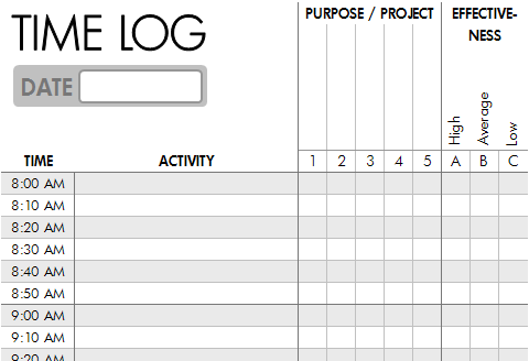 Log where time actually goes -- Time Log Template