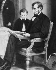 Abraham Lincoln reading to his son Tadd at the White House
