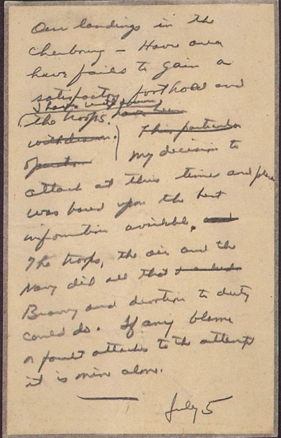 Dwight Eisenhower's note to use if the Normandy Invasion went wrong, 5-June-1945