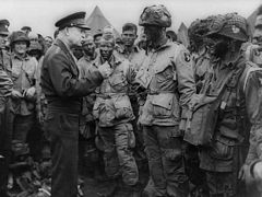 General Eisenhower addressing American paratroopers on 5-June-1944 before the Battle of Normandy