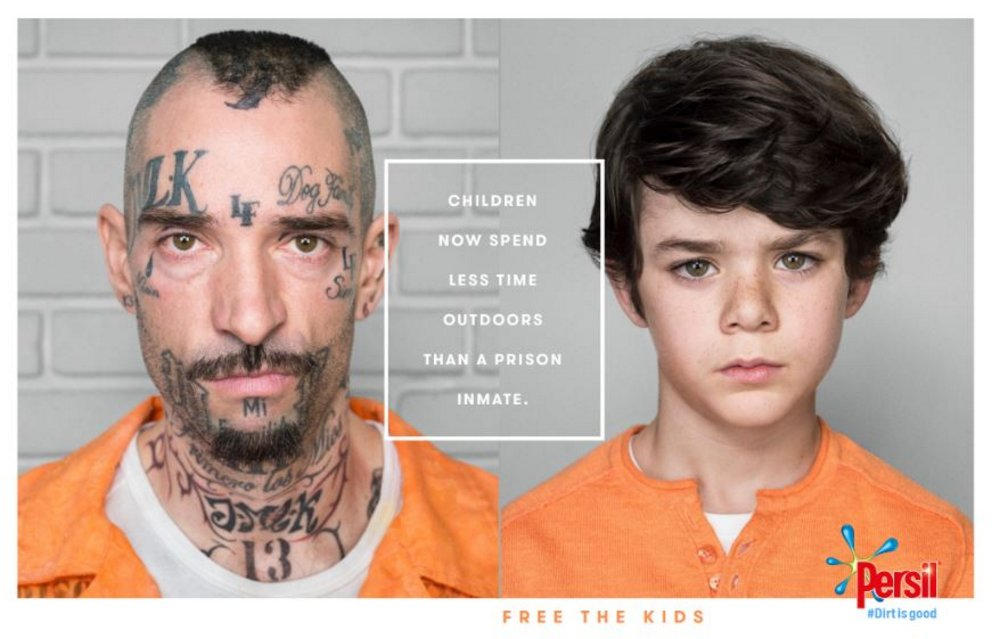 Persil 'Dirt is Good' campaign - children spend less time outdoors than prison inmates