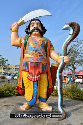 Picture of Statue of Demon Mahishasura atop Chamundi Hills in Mysore, India